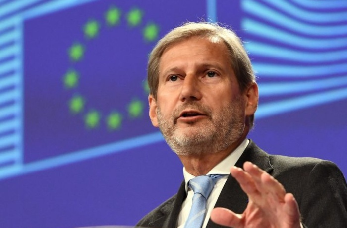 EU Commissioner in charge of European Neighbourhood Policy and Enlargement Negotiations  Johannes Hahn addresses a press conference in view of the Western Balkans Summit and the Eastern Partnership Summit at the European Commission in Brussels on June 12, 2017. / AFP PHOTO / EMMANUEL DUNAND        (Photo credit should read EMMANUEL DUNAND/AFP/Getty Images)